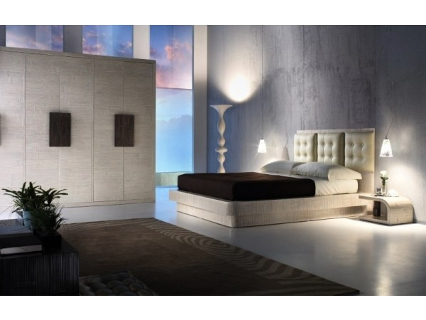 Κρεβάτι KRISTAL από ξύλο bamboo σε scratch white χρωματισμό.