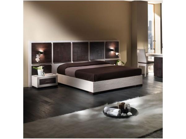 Κρεβάτι DUBAI από ξύλο bamboo σε white-scratch και wenge χρωματισμό