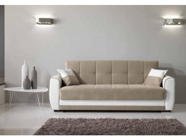 Καναπές κρεβάτι VERA με οικολογικό δέρμα και ύφασμα 223x80x89 εκ.