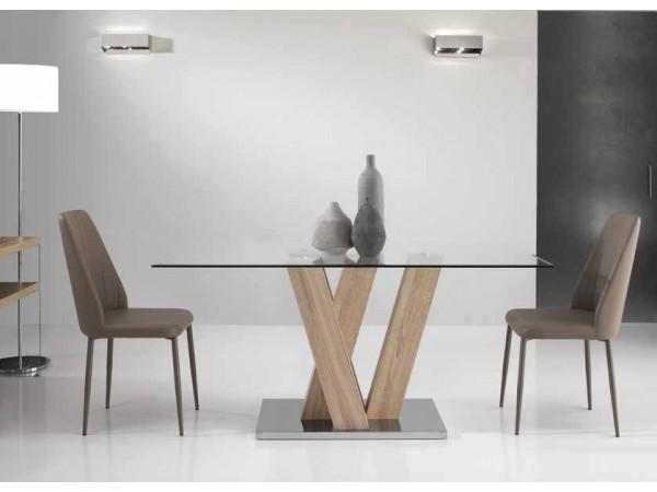 Τραπέζι ENNIO με τζάμι σε δυο χρωματισμούς 160x90x77 εκ.