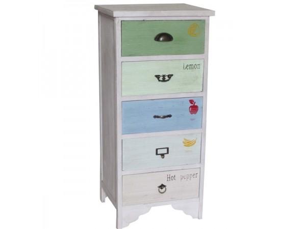 Συρταριέρα Ξύλινη LAVE multicolor με 5 συρτάρια 43x35x95 εκ.