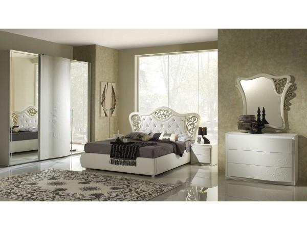 Μοντέρνο Σετ Υπνοδωμάτιο CHANEL ντυμένο Κρεβάτι με αποθηκευτικό χώρο και δυο κομοδίνα.