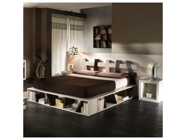 Κρεβάτι CROSS από ξύλο bamboo σε white scratch-wenge χρωματισμό