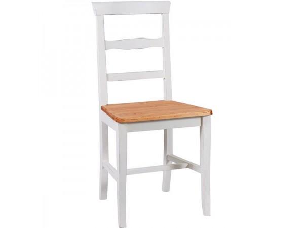 Καρέκλα Μασίφ Ξύλινη σε φυσική απόχρωση το κάθισμα και λευκό αντικέ η υπόλοιπη δομή 45x43x92 εκ.