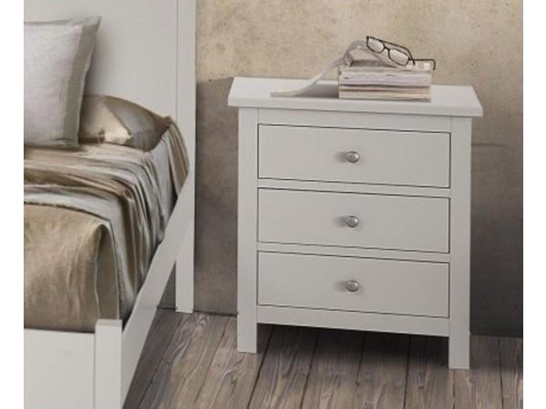 Κομοδίνο Country Collection με 3 συρτάρια από ξύλο σε λευκό ματ χρωματισμό 58x40x66 εκ.