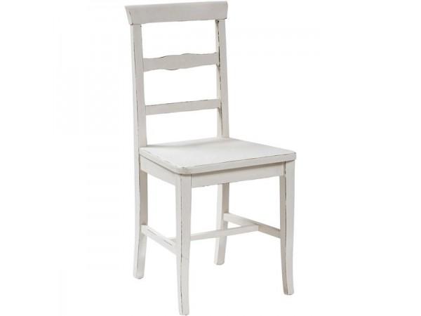 Καρέκλα Μασίφ Ξύλινη σε λευκό αντικέ απόχρωση 45x43x92 εκ.