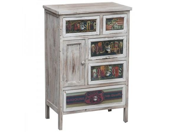 Συρταριέρα Ξύλινη BALLERO Vintage multicolor με 5 συρτάρια 50x30x77 εκ.