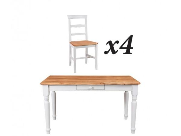 Σετ Τραπέζι με 4 καρέκλες Μασίφ Ξύλο σε φυσικό και λευκό αντικέ χρωματισμό