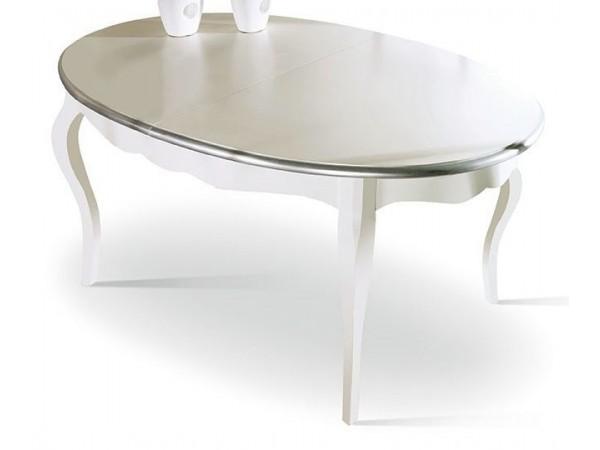 Τραπέζι Μασίφ Ξύλινο επεκτεινόμενο σε διχρωμία white και silver 120x120x78 εκ.