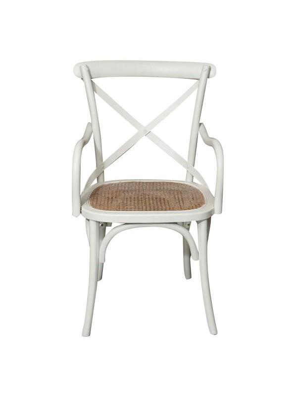 Καρέκλα Μασίφ Ξύλινη σε απόχρωση λευκό αντικέ 50x43x89 εκ.