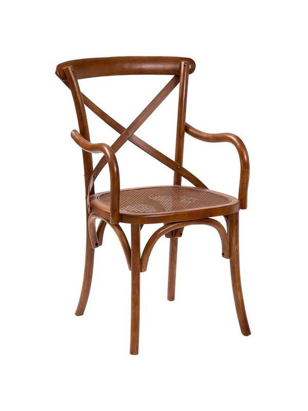 Καρέκλα Μασίφ Ξύλινη σε απόχρωση καρυδιάς 50x43x89 εκ.