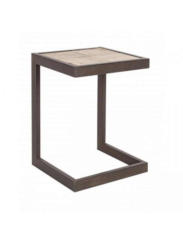 Σκαμπώ από ξύλο fir και μεταλλική δομή BLOCKS 36x32x37 εκ.