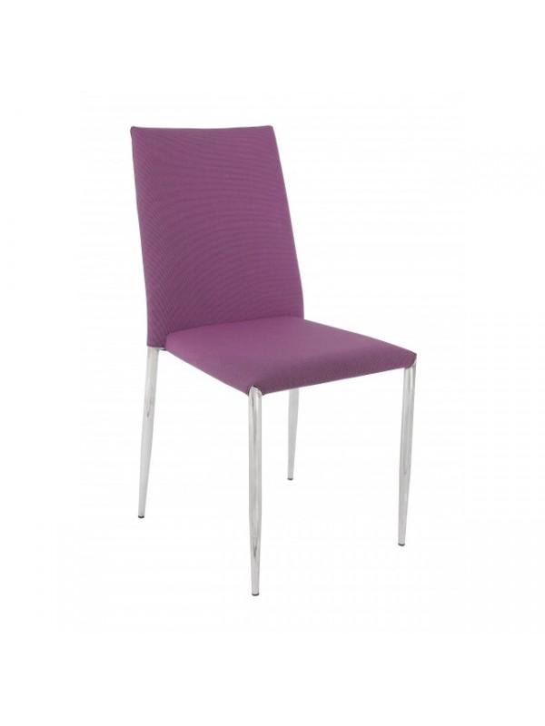 Καρέκλα στοιβαζόμενη από εφέ υφάσματος και χρωμιομένα πόδια FRUIT PURPLE 47x49x90 εκ.
