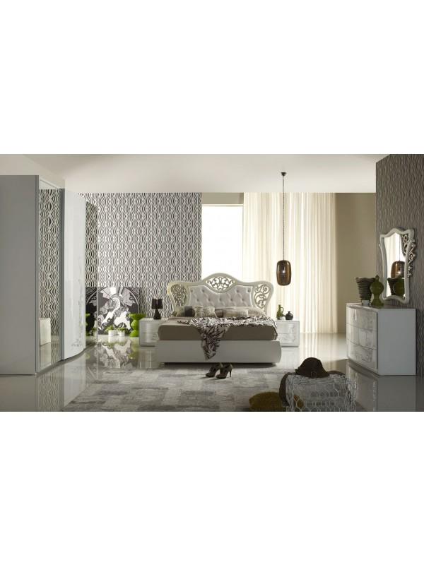 Μοντέρνο Υπνοδωμάτιο HILTON με αποθηκευτικό σε λευκή λάκα και ασημί μεταξοτυπία