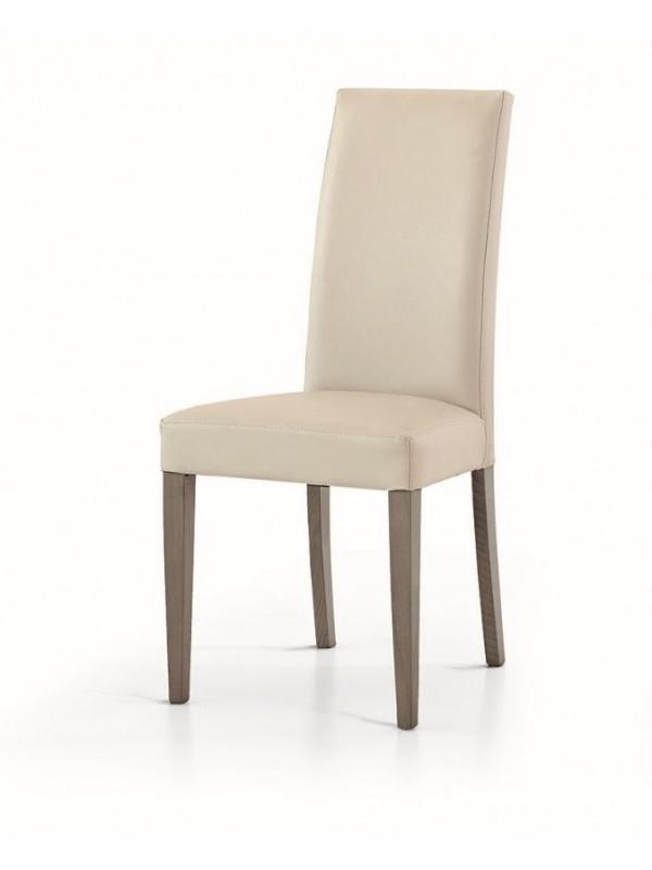 Καρέκλα Beige modern style με ξύλινα πόδια σε καφέ σκούρο χρωματισμό.