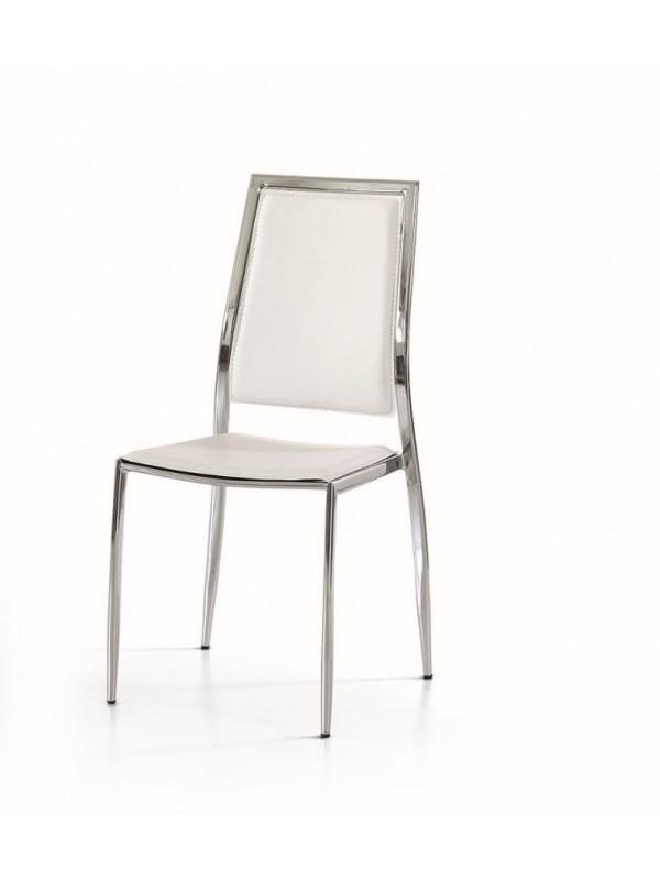 Καρέκλα Beige με μεταλλικά πόδια και δομή.