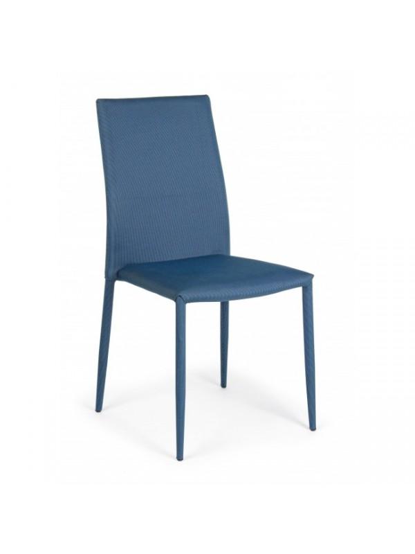 Καρέκλα στοιβαζόμενη από πολυεστερικό ύφασμα και μεταλλική δομή IVY BLUE 42x51,5x90,5 εκ.