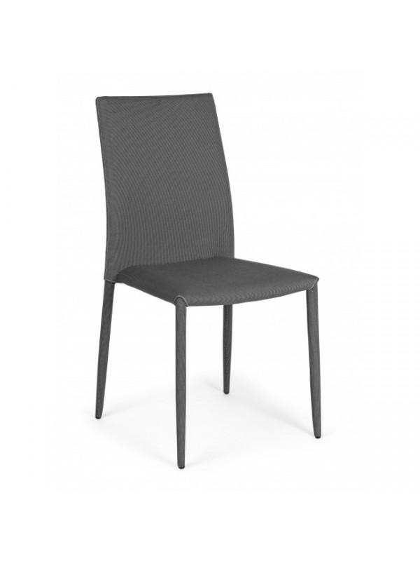 Καρέκλα στοιβαζόμενη από πολυεστερικό ύφασμα και μεταλλική δομή IVY DARK GREY 42x51,5x90,5 εκ.