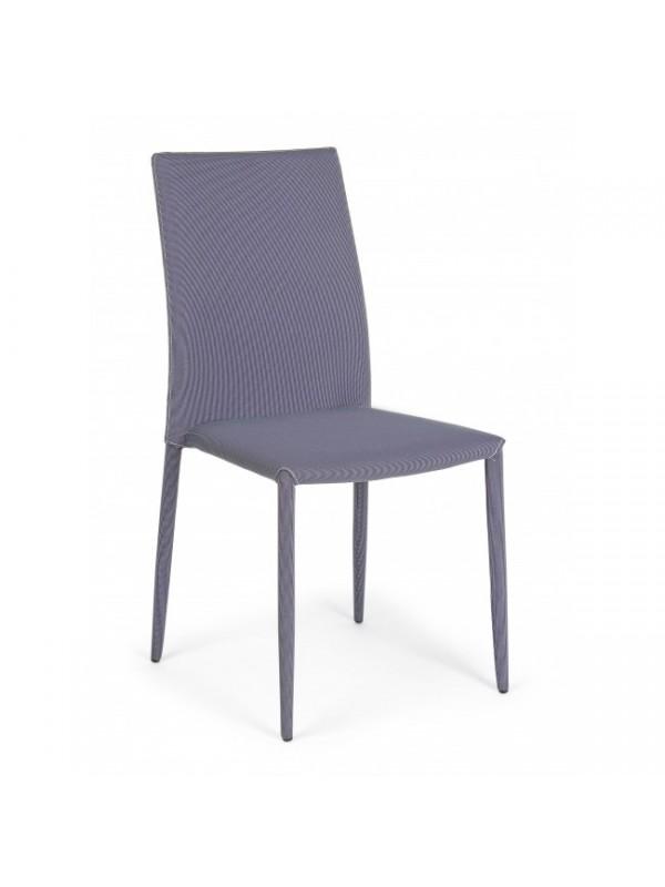 Καρέκλα στοιβαζόμενη από πολυεστερικό ύφασμα και μεταλλική δομή IVY GREY 42x51,5x90,5 εκ.