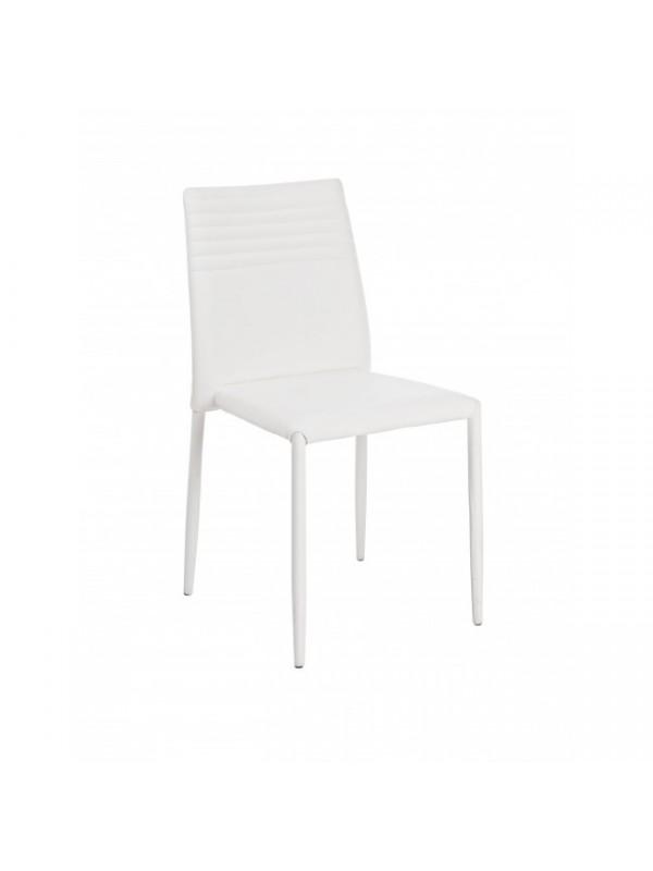 Καρέκλα στοιβαζόμενη από τεχνόδερμα(PU) FUN WHITE 43x44x87 εκ.
