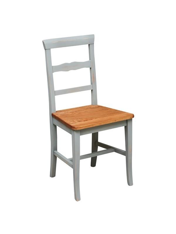 Καρέκλα Μασίφ Ξύλινη σε φυσική απόχρωση το κάθισμα και γκρι αντικέ η υπόλοιπη δομή 45x43x92 εκ.